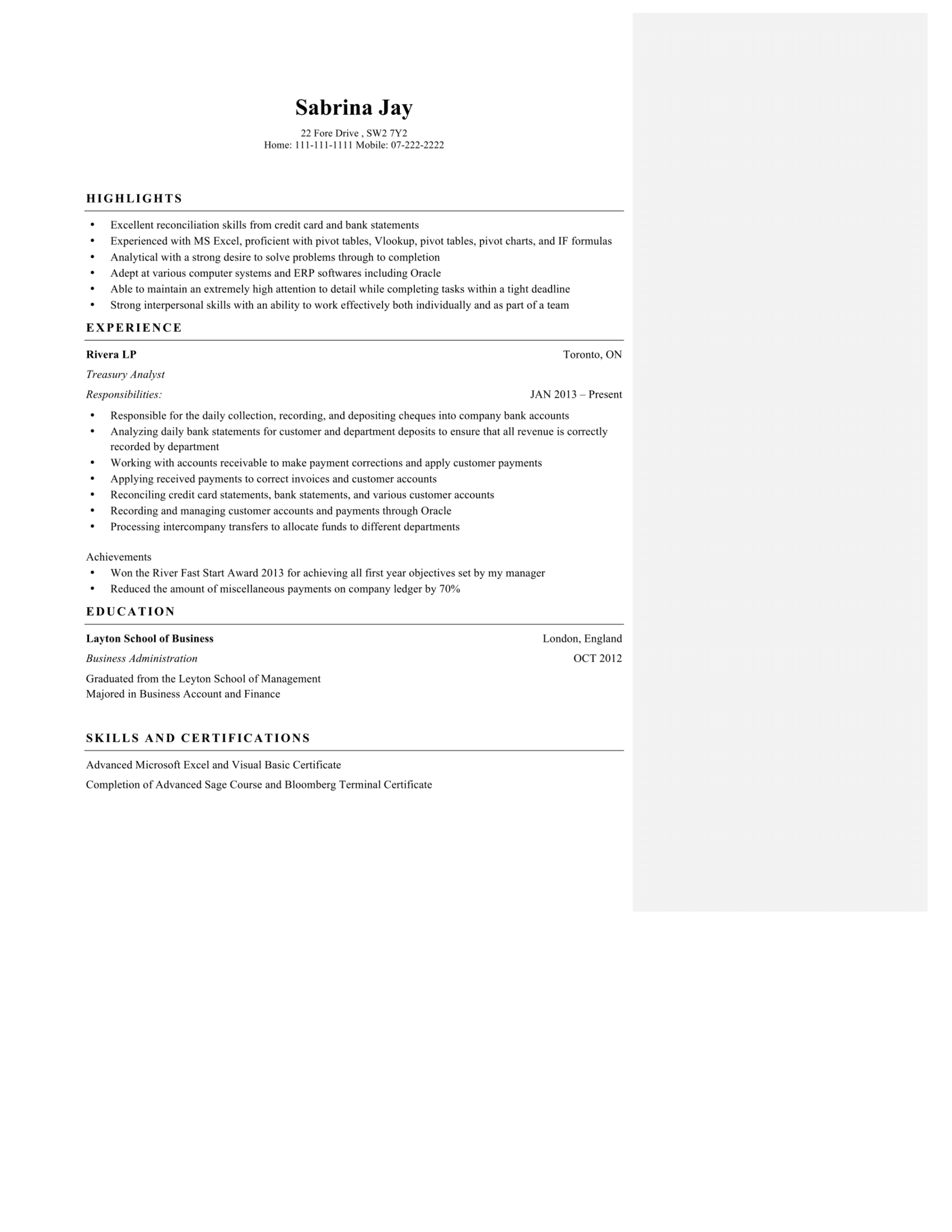 Construction Supervisor Resume Excel Samples Of Our Proofreading And Editing Services  Postscrib Video Resumes with Reporting Analyst Resume Word Excellent   Objectives In Resume Pdf