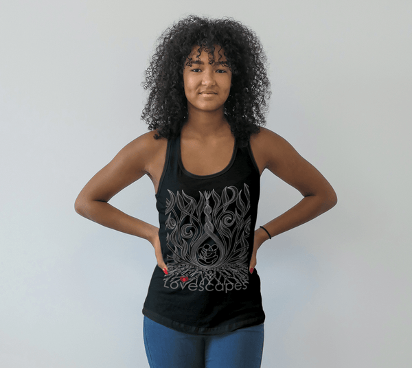Lovescapes Racerback Top (Kundalini Love Garden-black)
