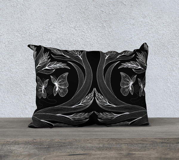 "Lovescapes Pillow 20"" x 14"" (Conjuring Magic B&W) - Lovescapes Art"