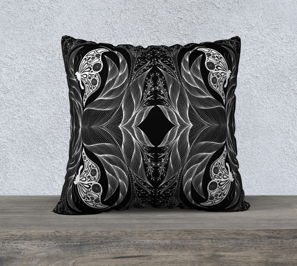"Lovescapes Pillow 22"" x 22"" (Emergence B&W) - Lovescapes Art"