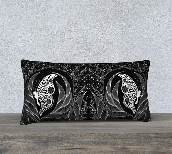 "Lovescapes Pillow 24"" x 12"" (Emergence B&W) - Lovescapes Art"