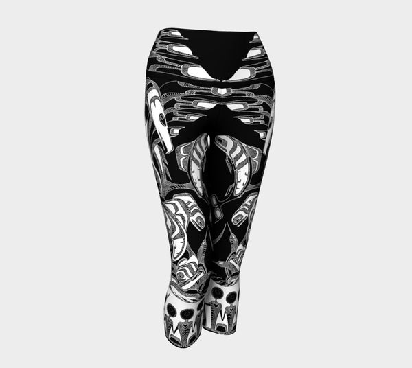 Lovescapes Yoga Capris (Totemic Guardians B&W 01) - Lovescapes Art