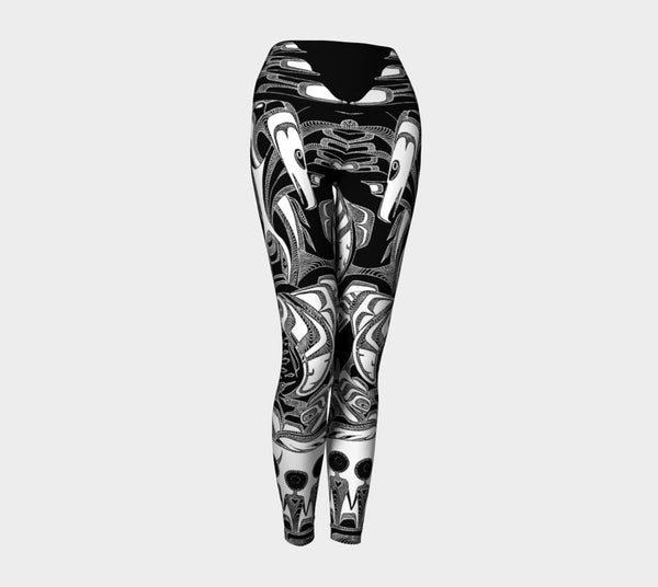 Lovescapes Yoga Leggings (Totemic Guardians B&W 01) - Lovescapes Art