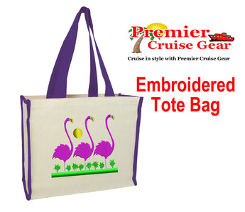 Cruise and Beach theme Cotton Canvas tote with color trim and side pocket