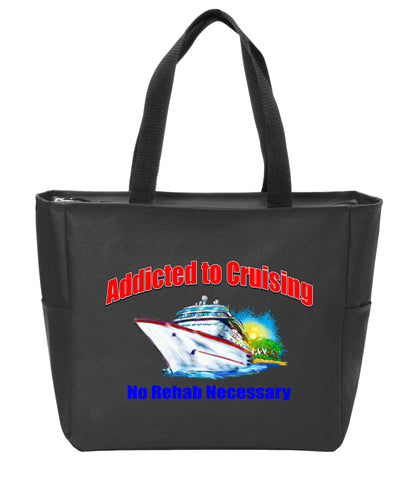 afa06af58241 Cruise theme Tote Bag. Port Authority® Essential Zip Tote with colorful art  work.