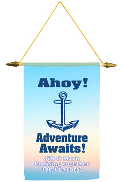 Cruise ship door banner.  Glitter Anchor with text.   Customized with your text. Available in medium or large.
