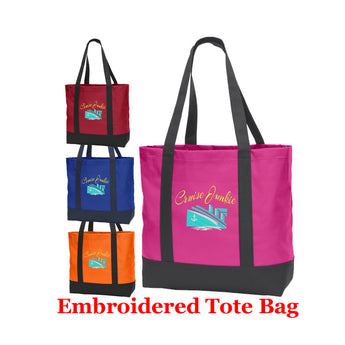 Cruise and Beach theme Large Embroidered Cotton Tote - style 053