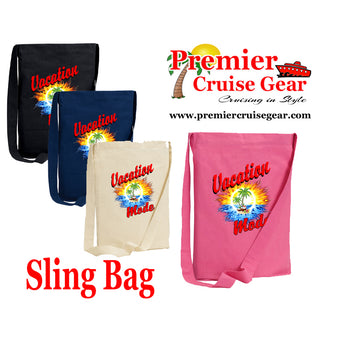 "Cruise Sling Bag.  Cruise/Beach theme decorations on our popular sling bags.  ""Vacation Mode"""