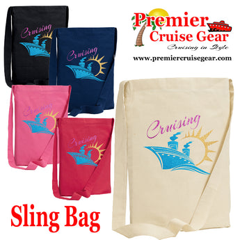 "Cruise Sling Bag.  Cruise/Beach theme decorations on our popular sling bags.  ""Cruising"""