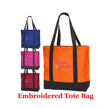 Cruise and Beach theme Large Embroidered Cotton Tote - style 052