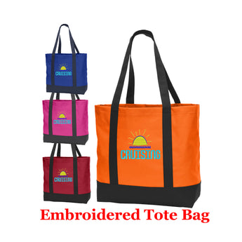 Cruise and Beach theme Large Embroidered Cotton Tote - style 054