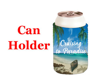 Can beverage holder with beach, cruising or summer themed decoration.