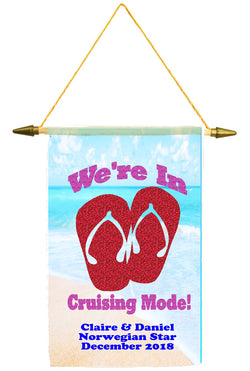 Cruise ship door banner.  Glitter flip flops and text.   Customized with your text. Available in medium or large.