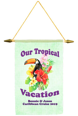 Cruise ship door banner.  Parrot with glitter text.   Customized with your text. Available in medium or large.