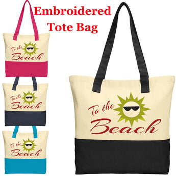 Large Embroidered Cotton Tote - style 019