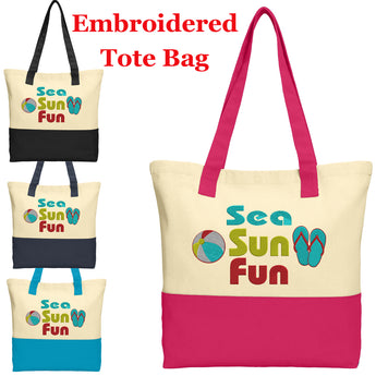 Large Embroidered Cotton Tote - style 018