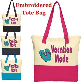 Large Embroidered Cotton Tote - style 020