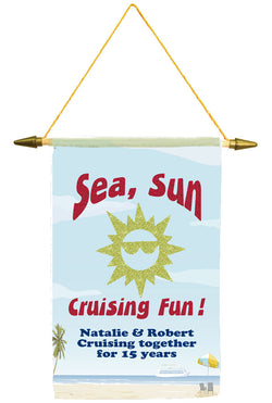 Cruise ship door banner.  Glitter sun and text.   Customized with your text. Available in medium or large.