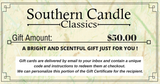 Southern Candle Classics 50$ Gift Certificate - Southern Candle Classics