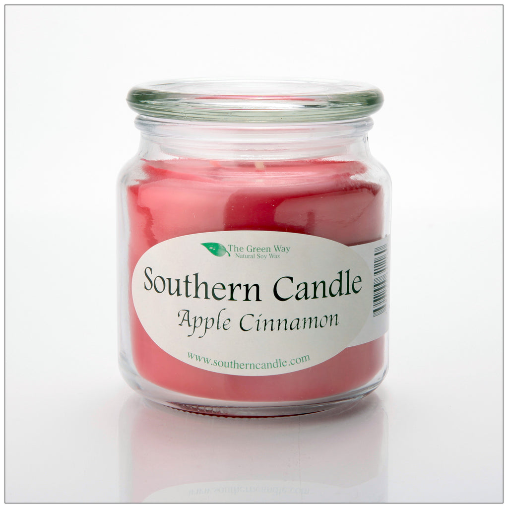 Apple Cinnamon 16 oz. Decorator Jar Natural Soy Wax Candle - Southern Candle Classics