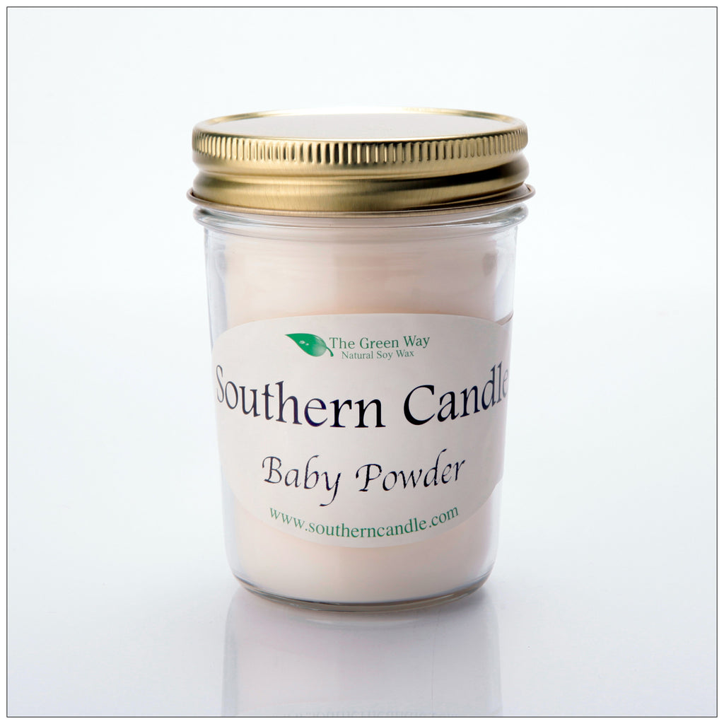 Baby Powder - 8 oz Heritage Jar Natural Soy Wax Candle - Southern Candle Classics