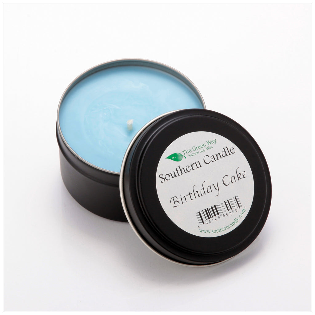 Birthday Cake - 6 oz Travel Tin Natural Soy Wax Candle - Southern Candle Classics