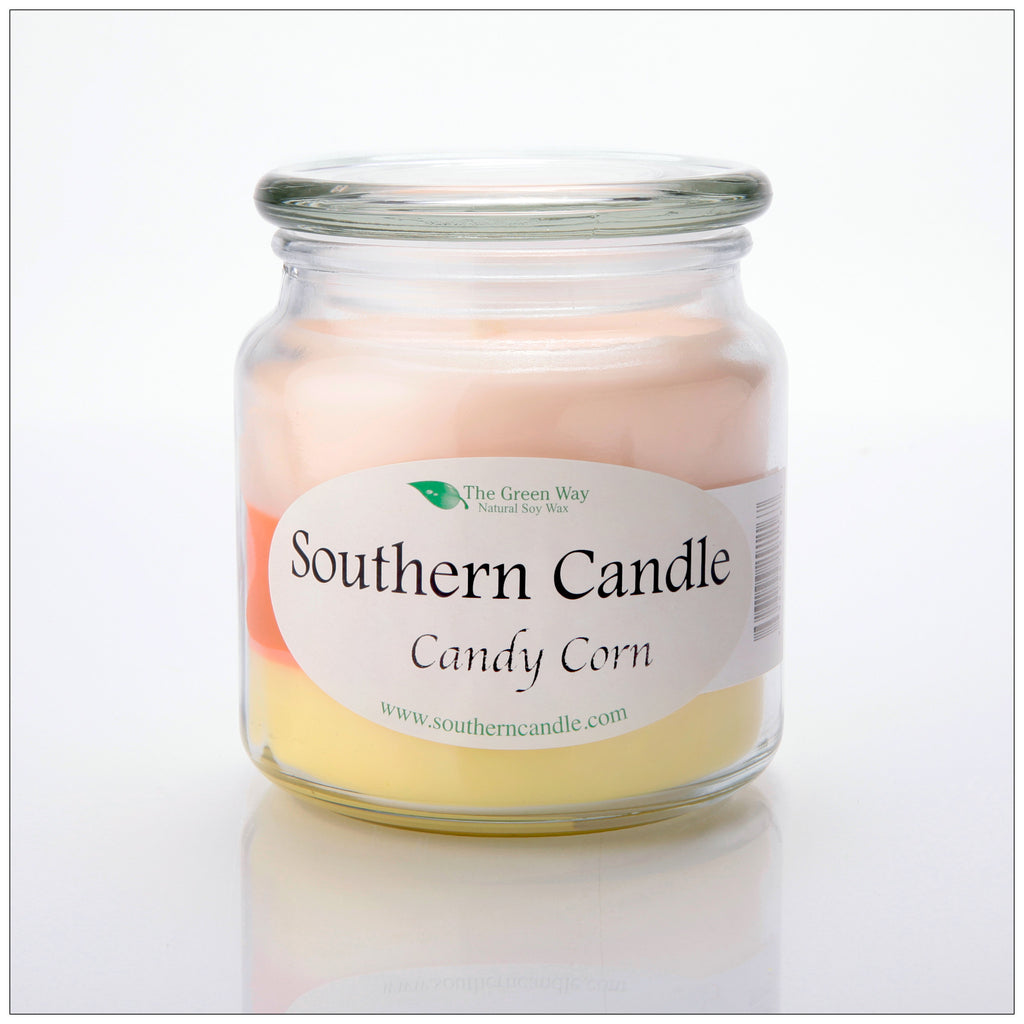 Candy Corn 16 oz Decorator jar Natural Soy Wax Candle - Southern Candle Classics