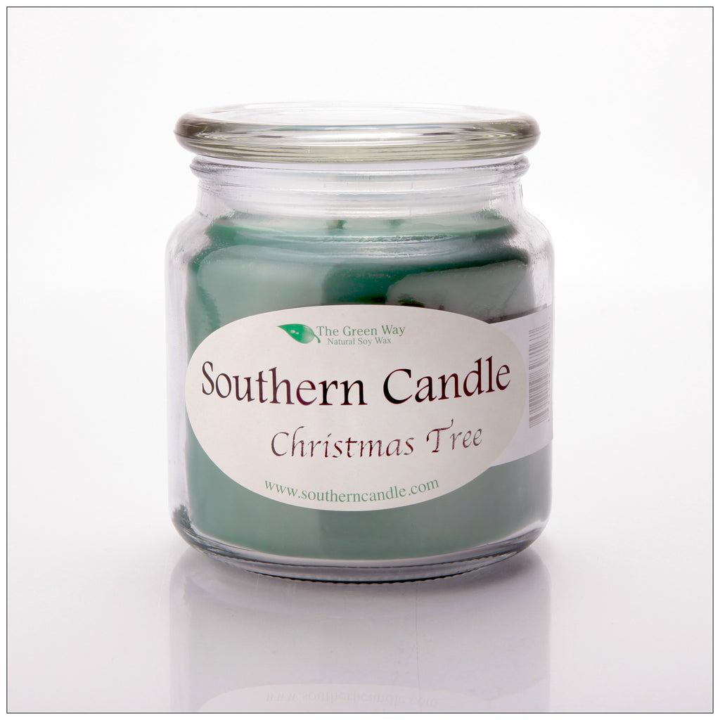 Christmas Tree 16 oz Decorator Jar Natural Soy Wax Candle - Southern Candle Classics