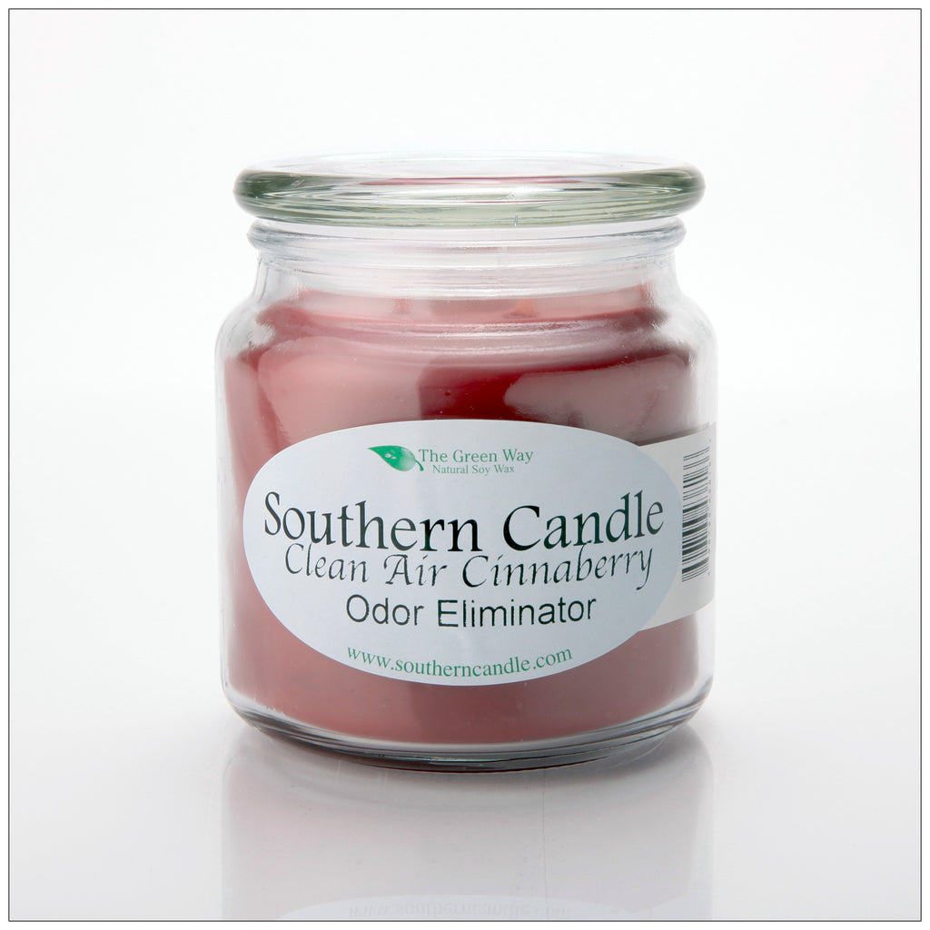 Clean Air Cinnaberry 16 oz Decorator Jar Natural Soy Wax Candle - Southern Candle Classics