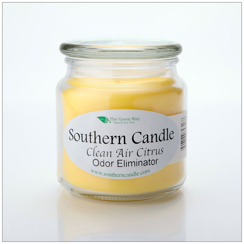 Clean Air Citrus 16 oz Decorator Jar Natural Soy Wax Candle - Southern Candle Classics