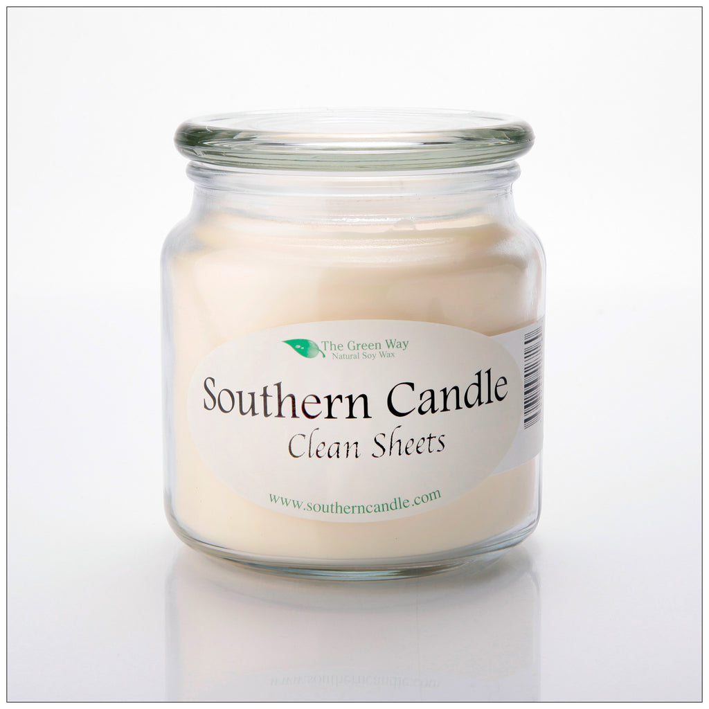 Clean Sheets 16 oz Decorator Jar Natural Soy Wax Candle - Southern Candle Classics