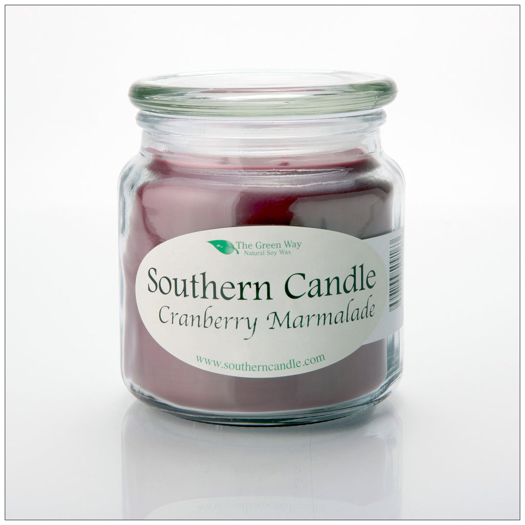 Cranberry Marmalade 16 oz Decorator Jar Natural Soy Wax Candle - Southern Candle Classics