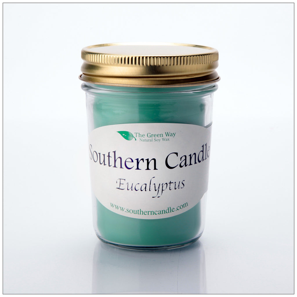 Eucalyptus - 8 oz Heritage Jar Natural Soy Wax Candle - Southern Candle Classics