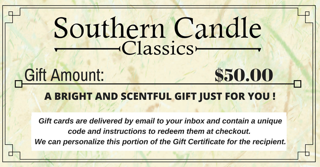 SOUTHERN CANDLE GIFT CERTIFICATES - Southern Candle Classics
