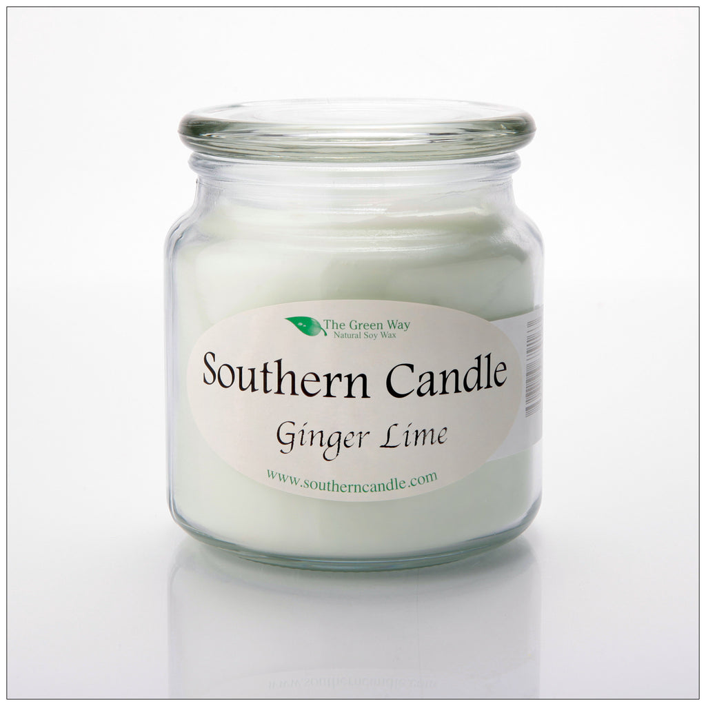Ginger Lime 16 oz Decorator Jar Natural Soy Wax Candle - Southern Candle Classics
