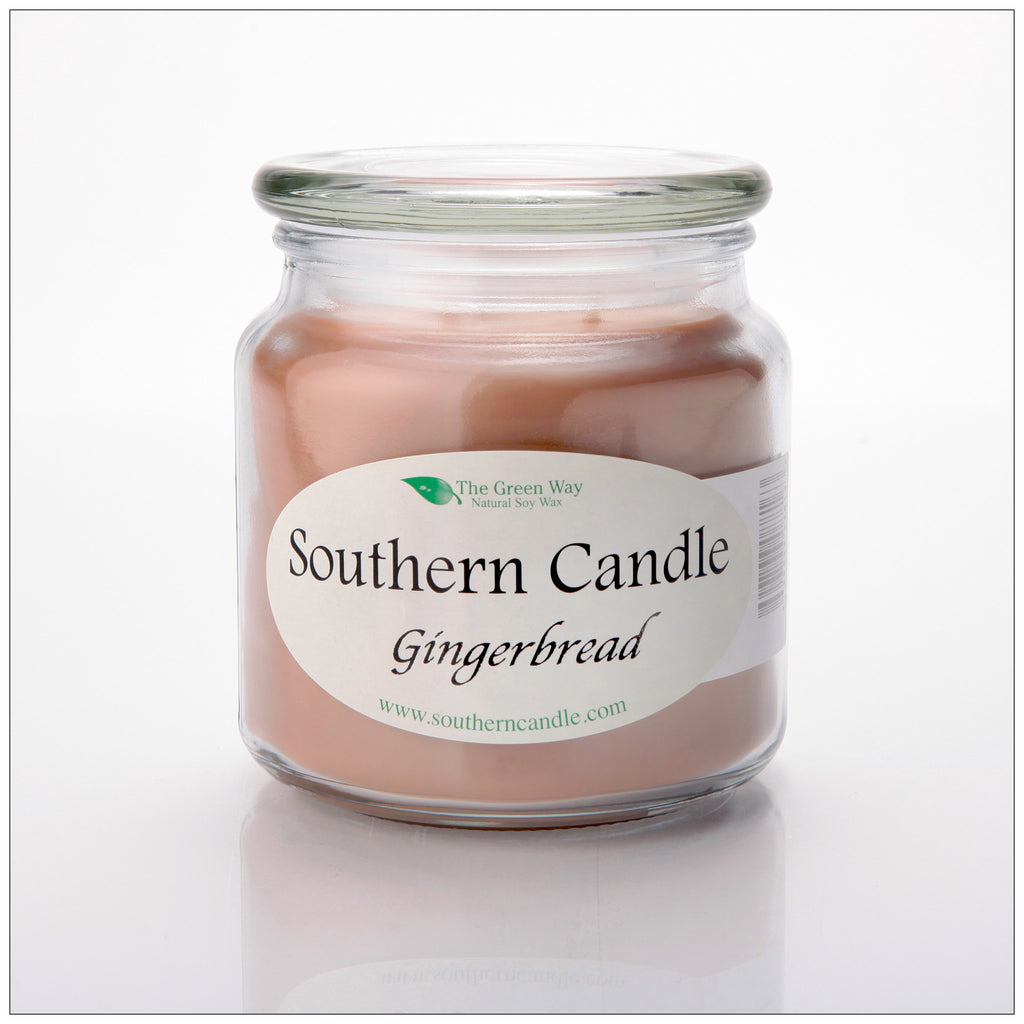 Gingerbread 16 oz Decorator Jar Natural Soy Wax Candle - Southern Candle Classics