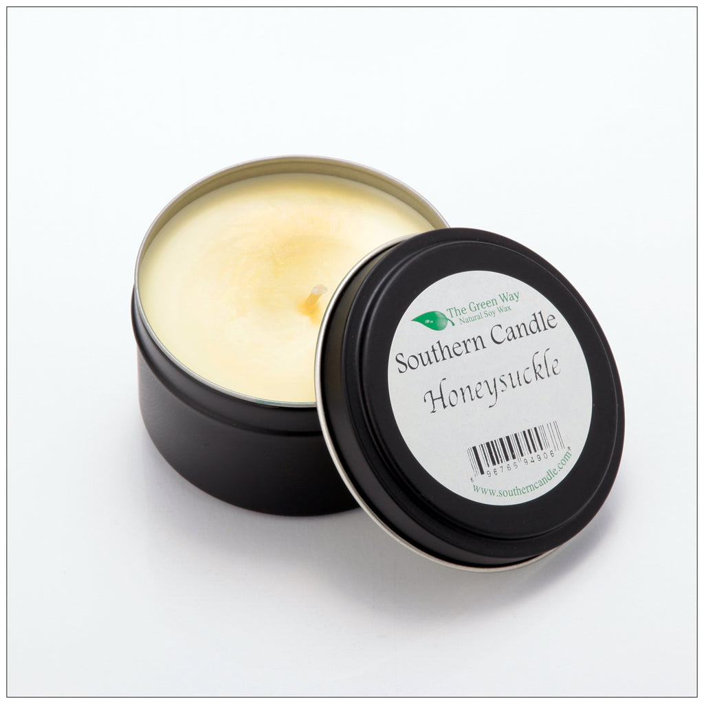 Honeysuckle - 6 oz Travel Tin Natural Soy Wax Candle - Southern Candle Classics