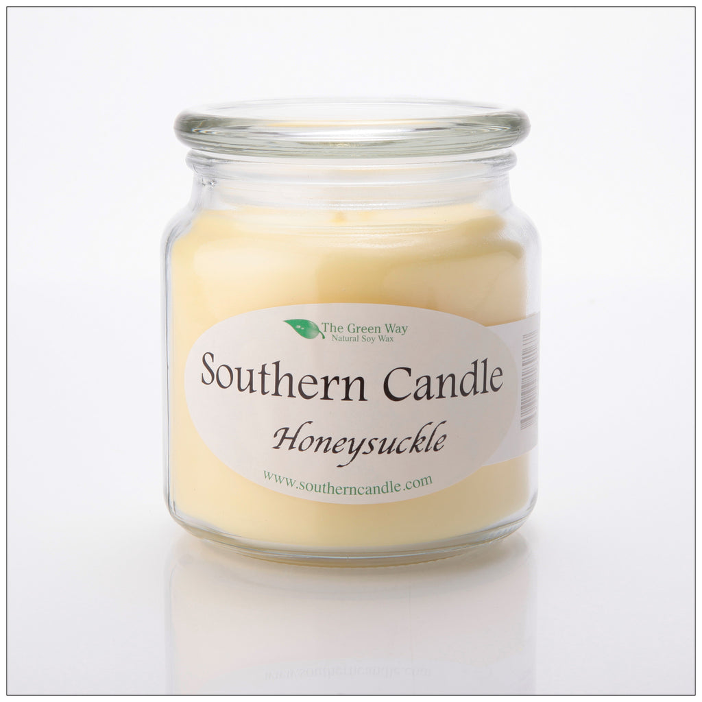 Honeysuckle 16 oz Decorator Jar Natural Soy Wax Candle - Southern Candle Classics
