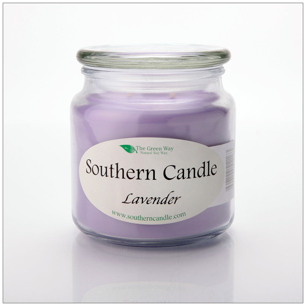 Lavender 16 oz Decorator Jar Natural Soy Wax Candle - Southern Candle Classics