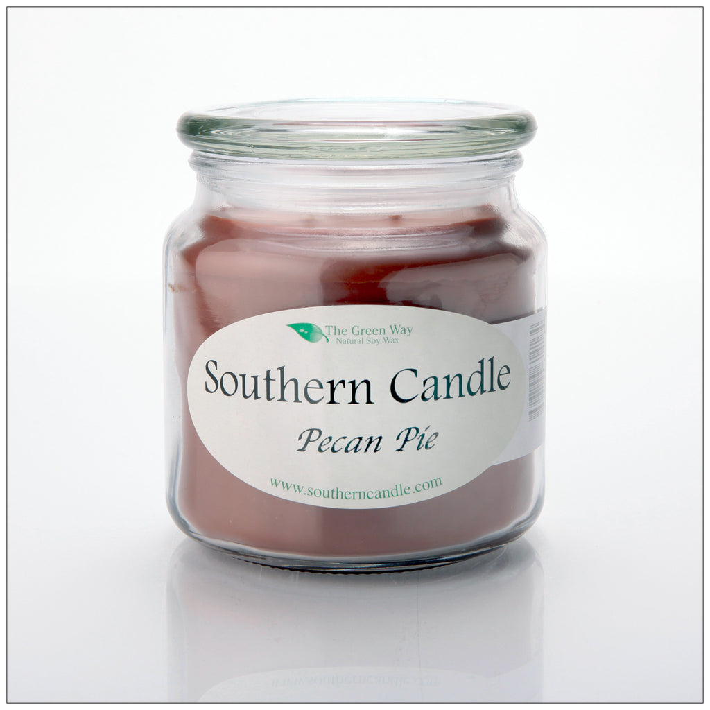 Pecan Pie 16 oz Decorator Jar Natural Soy Wax Candle - Southern Candle Classics