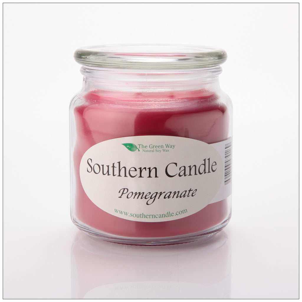 Pomegranate 16 oz Decorator Jar Natural Soy Wax Candle - Southern Candle Classics