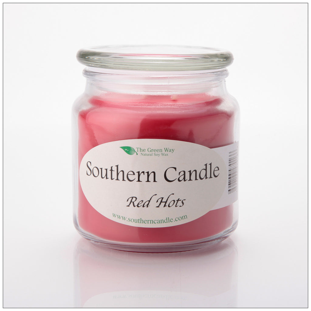 Red Hots 16 oz Decorator Jar Natural Soy Wax Candle - Southern Candle Classics
