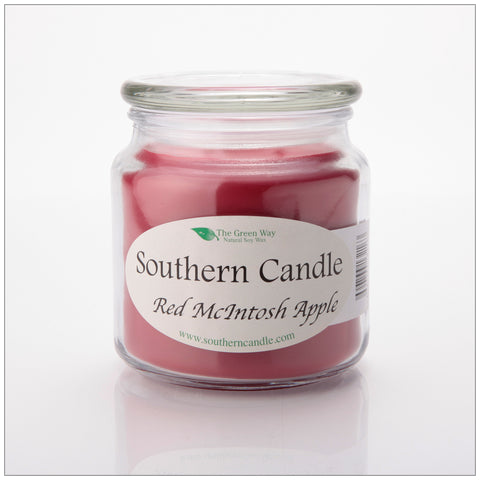 Red Macintosh Apple - 8 oz Heritage Jar Natural Soy Wax Candle