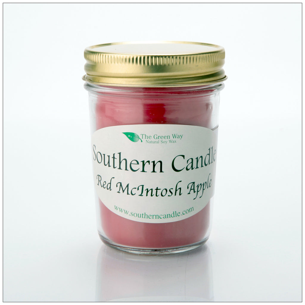 Red Macintosh Apple - 8 oz Heritage Jar Natural Soy Wax Candle - Southern Candle Classics