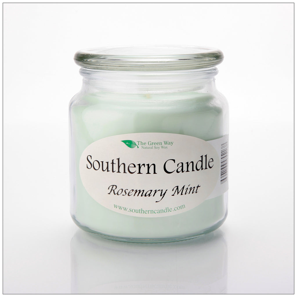 Rosemary Mint 16 oz Decorator Jar Natural Soy Wax Candle - Southern Candle Classics