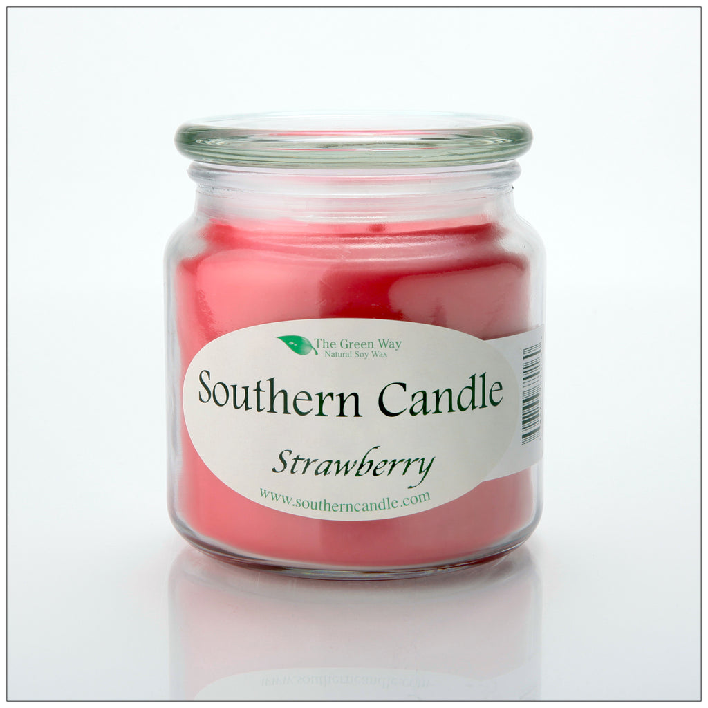Strawberry 16 oz Decorator Jar Natural Soy Wax Candle - Southern Candle Classics