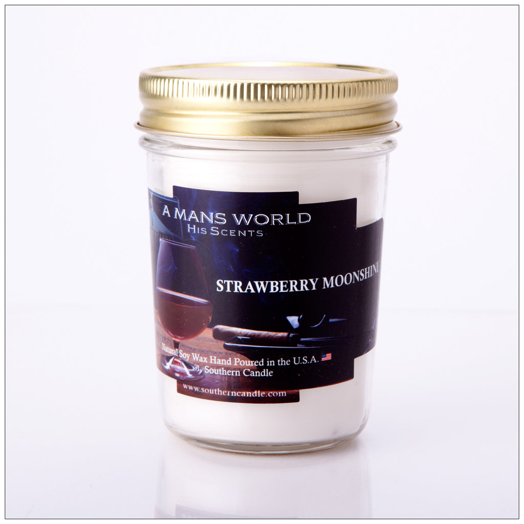 Strawberry Moonshine 8 oz Heritage Jar Natural Soy Wax Candle - Southern Candle Classics