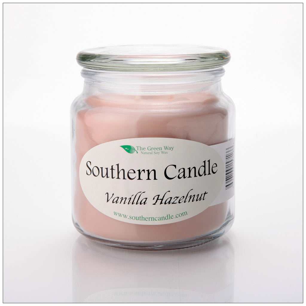 Vanilla Hazelnut 16 oz Decorator Jar Natural Soy Wax Candle - Southern Candle Classics