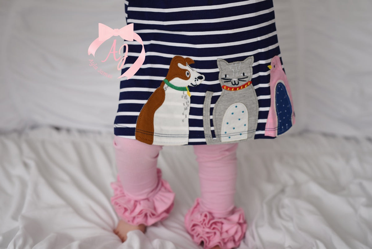 Dog, Cat and Bird Oh My Applique Dress