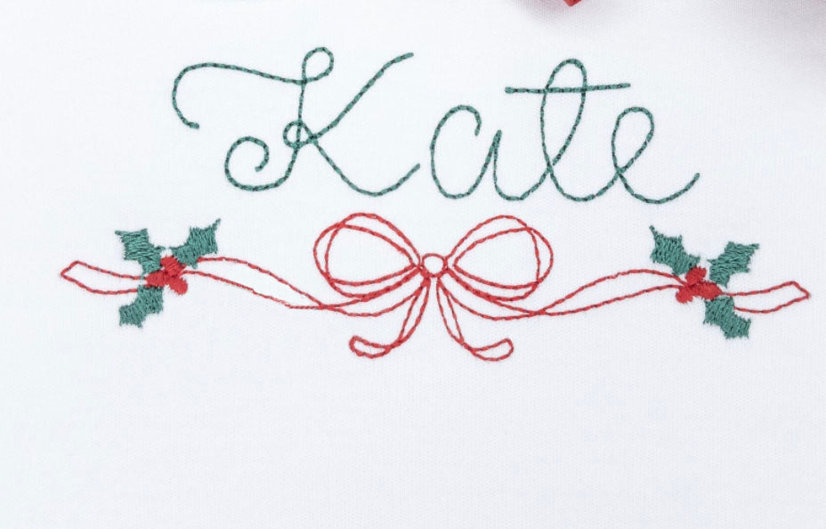 Big Bow and Winter Holly w/ Name Sketch Embroidery Shirt